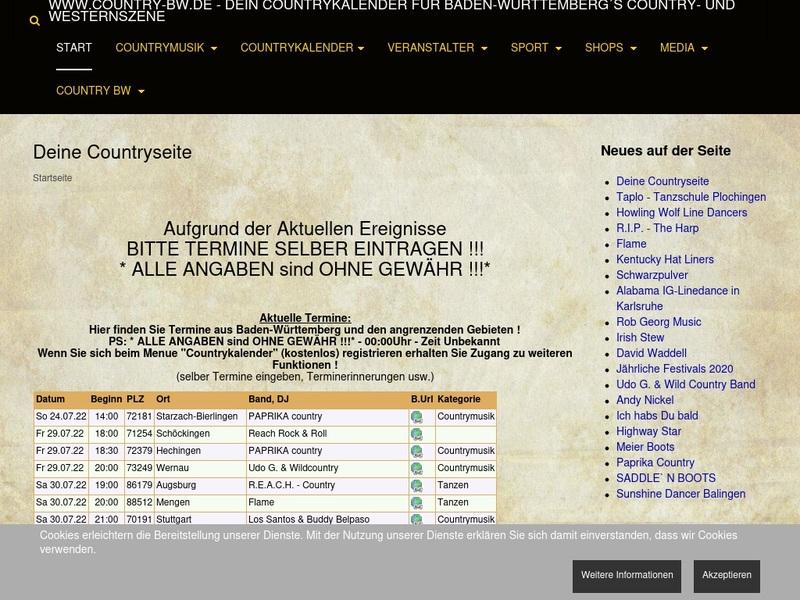 Screenshot von www.country-bw.de